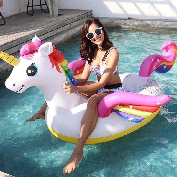 彩虹獨角獸坐騎 大童 水上浮排 充氣浮床坐騎 水上用品 座船游泳圈 泳池 游泳 海邊 橘魔法 現貨