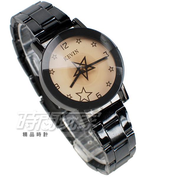 KEVIN 轉動星辰 造型時尚流行錶 立體多角切割鏡面 學生錶 防水手錶 IP黑電鍍 女錶 KV2068星白小