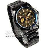 Wilon 簡約潮男時尚機械腕錶 男錶 IP黑電鍍x玫瑰金 W2065IP黑 簍空 陀飛輪機械錶造型錶 真三眼