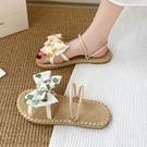 沙灘鞋 波西米亞平底編織涼鞋女2021夏季新款韓版一字兩穿休閑沙灘涼拖鞋 歐歐
