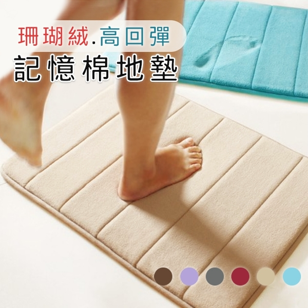 (40*60cm)珊瑚絨記憶地墊 地毯 腳踏墊 防滑墊 止滑墊 踏墊 浴室 廚房 客廳 居家【葉子小舖】
