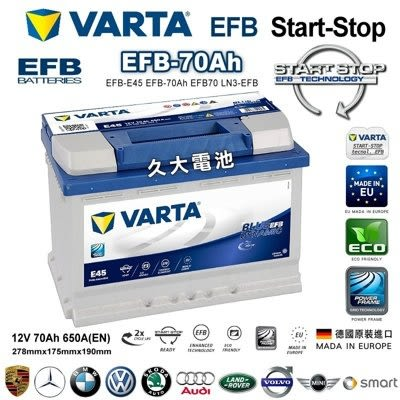 ✚久大電池❚ 德國進口 VARTA E45 EFB 70Ah BMW 325i 330i 335i E93 08~13