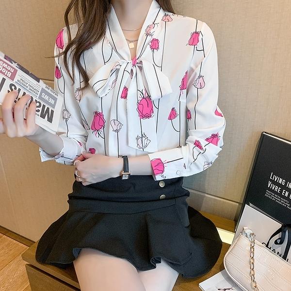 印花襯衫S-2XL高端輕奢三十而已減齡清雅麗人玫瑰印花真絲長袖襯衫上衣女9110 NE280-B 依品國際