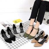 粗跟一字扣絨面中跟女鞋顯瘦尖頭高跟鞋中空百搭涼鞋5cm  可然精品鞋櫃