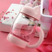 韓國可愛超萌小貓咪玻璃杯水杯便攜隨手杯少女泡茶杯杯子創意潮流   夢曼森居家