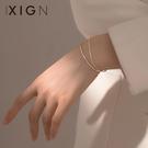 手鐲 XIGN漸凍人手鍊純銀雙層冷淡風手鐲小眾設計感ins閨蜜女生飾品 晶彩