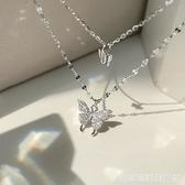 925銀蝴蝶雙層項錬女簡約設計感小眾氣質冷淡風鎖骨錬新款潮 居家物語