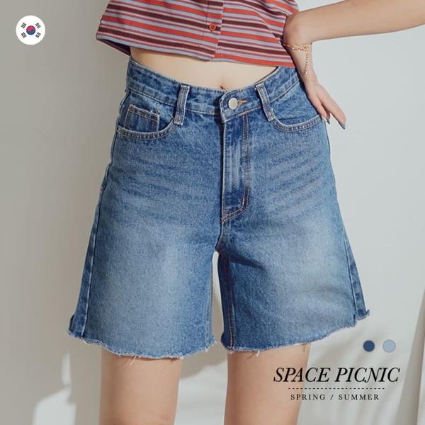 單寧 短褲 Space Picnic|正韓-不收邊單寧牛仔五分寬褲(現貨)【K20044008】