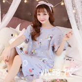睡衣 女夏長款休閑女士可外穿甜美純棉卡通短袖寬鬆睡裙
