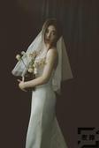 結婚禮領證復古輕婚紗旅拍短新娘頭飾小頭紗【左岸男裝】