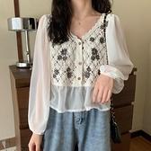 春季2021年新款V領寬鬆長袖襯衣刺繡設計感小眾法式襯衫ins上衣女 錢夫人