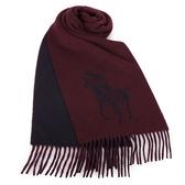 POLO RALPH LAUREN經典馬球大圖紋羊毛圍巾(酒紅色)780913-5