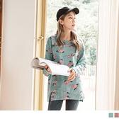 《AB8573-》滿版玫瑰英文印花長袖上衣 OB嚴選