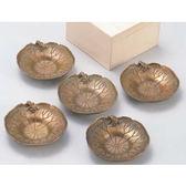 日本銅器【高岡銅器】茶托 雨蛙合荷(5件1組)附精緻木盒 杯墊純銅製 茶道具 杯置 茶藝品