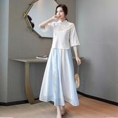 古裝漢服女中國風改良古裝演出服正品原創兩件套裝超仙氣漢元素連衣裙 嬡孕哺