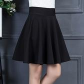 黑色半身裙子女2020春夏季新款百褶裙高腰a字蓬蓬裙顯瘦大擺短裙