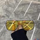 太陽眼鏡 超酷不規則方框一體大框太陽鏡蹦迪眼鏡素顏網紅街拍墨鏡女圓臉潮寶貝計畫 上新