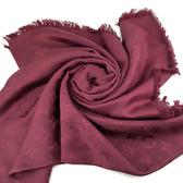 【奢華時尚】LV 酒紅色Monogram字紋刺繡混絲羊毛圍巾(全新未使用)#23934