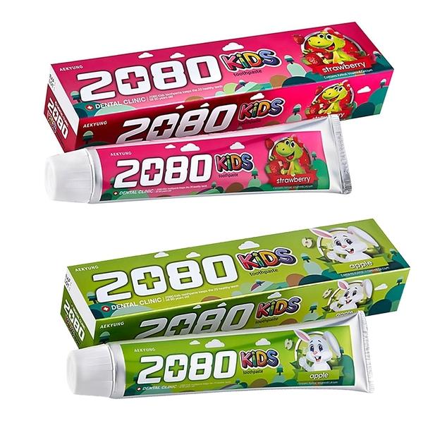 韓國 2080 強齒建齦兒童牙膏 80g 含鈣健齒 兒童木醣醇含氟牙膏 草莓 蘋果 6359