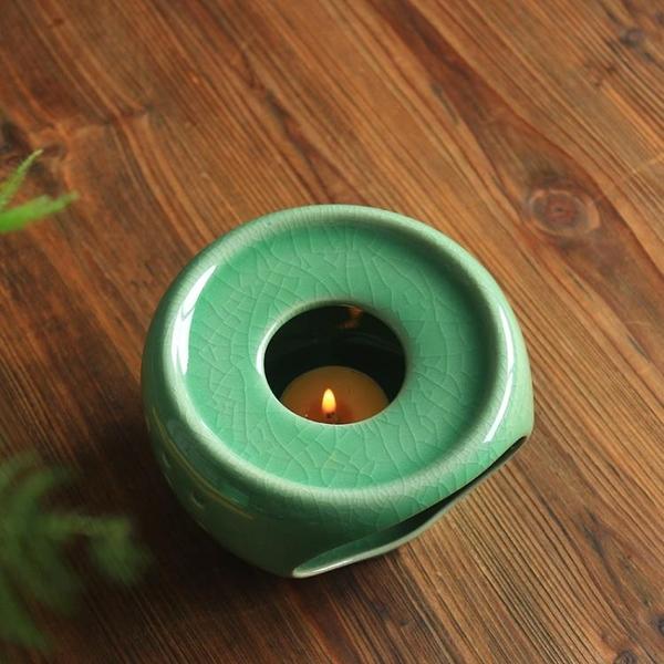 茶壺加熱底座龍泉青瓷茶爐蠟燭溫茶器陶瓷茶具花茶保溫幹燒台煮茶 新年禮物