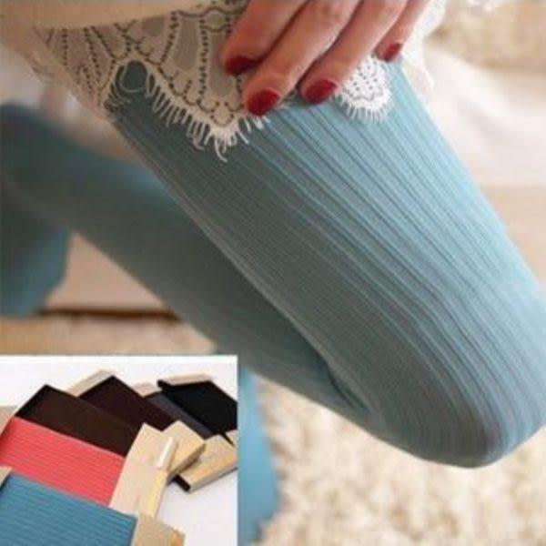 ►顯瘦豎條紋連褲襪 韓國糖果色時尚打底褲 秋冬打底女襪【B7111】