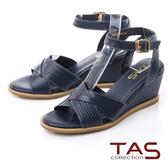 TAS牛皮交叉拼接編織壓紋楔型鞋-純淨藍