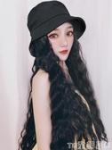 假髮帽子假髮女長髮一體女秋冬時尚羊毛卷潮流長卷髮網紅帶全頭套 童趣屋