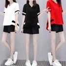2021夏新款遮肚小香風時尚兩件套女寬鬆大碼短袖短褲休閒運動套裝【快速出貨】
