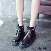女皮鞋女學院風低筒平底短靴女厚底靴子