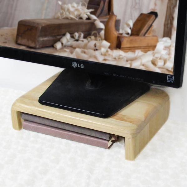 熒幕架 實木臺式電腦電視顯示器屏幕單層增高架抬高墊高底座置物架托架【快速出貨八折下殺】