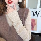 雪紡 蕾絲打底衫女長袖秋裝高領雪紡衫網紗內搭上衣氣質小衫-Milano米蘭