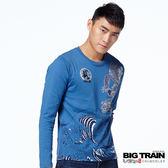 BIG TRAIN 怒海龍昇龍長袖圓領T-男-中藍