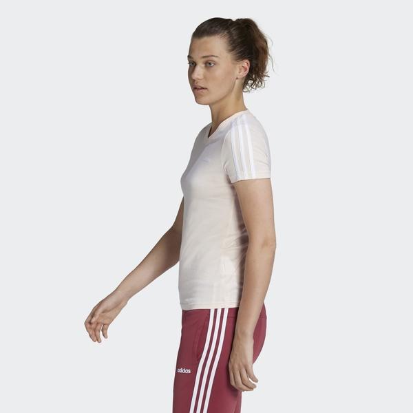 Adidas ESSENTIALS 3-STRIPES TEE 女款粉色運動短袖上衣-NO.GD3038