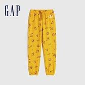 Gap女童 Logo清新印花鬆緊休閒褲 619660-黃色