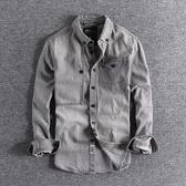 長袖襯衫 英倫復古做舊磨白青年外套純棉修身百搭男士牛仔長袖襯衫