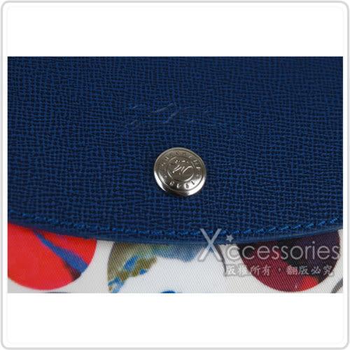 LONGCHAMP LE PLIAGE FANTAISIE系列多色彩球帆布手提/肩背包(小/藍+多彩白)