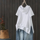 夏季新款連帽文藝竹節棉短袖T恤女棉質寬鬆破洞側開叉打底衫上衣 【端午節特惠】