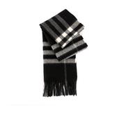 【BURBERRY】基本款經典格紋喀什米爾圍巾(黑/白) 8015537 A1189