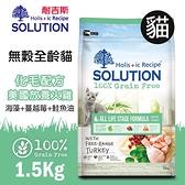PRO毛孩王 耐吉斯SOLUTION 超級無穀 全齡貓化毛配方 美國放養火雞肉1.5kg