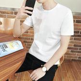 夏季短袖t恤男士純棉圓領純色半袖黑白色體恤韓版潮打底衫上衣服  米娜小鋪