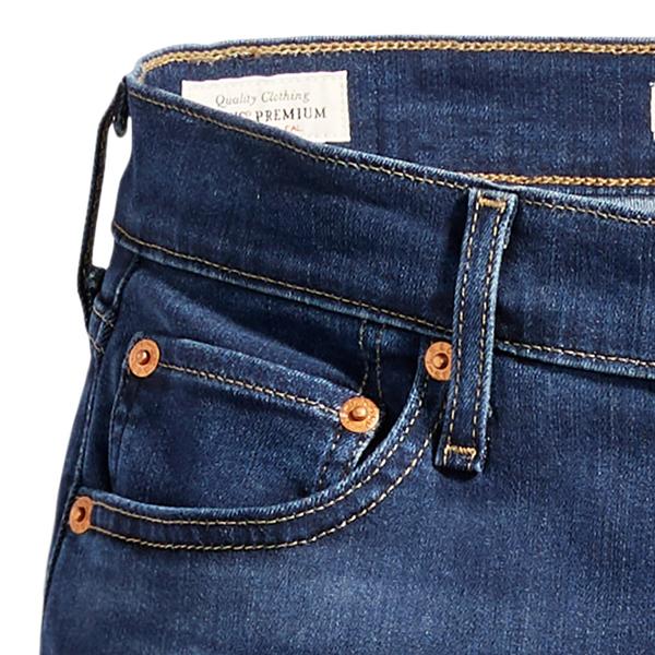 Levis 男友褲 中腰寬鬆版牛仔褲 / 深藍刷白 / Lyocell天絲棉 / 彈性布料