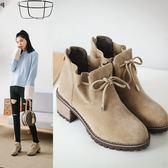 丁果、大尺碼女鞋34-43►2018秋冬歐美明星款絨皮防水台中跟短靴子*4色