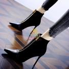 短靴 35-40 潮拼接前拉鏈2021秋冬季馬丁靴尖頭細跟法式小短靴女高跟靴【樂淘淘】