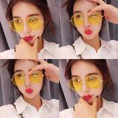 墨鏡女韓版潮街拍黃色彩色太陽眼鏡女