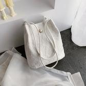 手提包蕾絲新款手提包購物袋鏤空沙灘包仙女刺繡單肩包包手袋仙女包【快速出貨八折下殺】