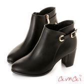 amai 歐美簡約繫帶造型跟靴 黑