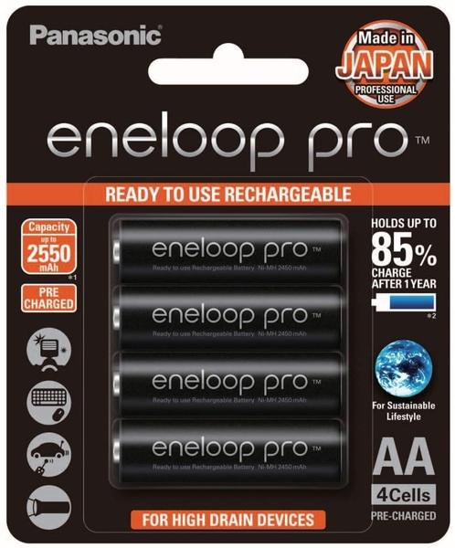 日本製 Panasonic 國際牌 eneloop pro 3號AA(大顆) 2550mAh低自放電池 4入裝送電池盒