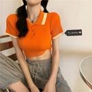 露臍上衣 夏季女裝2021新款韓版撞色短袖T恤polo衫修身顯瘦露臍短款上衣ins 韓國時尚 618