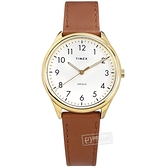 TIMEX 天美時 / TXTW2T72300 / 簡約風格 INDIGLO專利冷光照明 真皮手錶 白x金框x咖啡 32mm