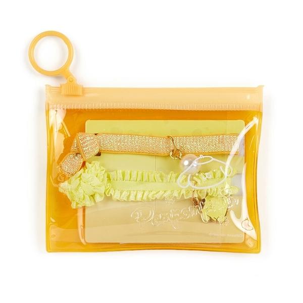 小禮堂 布丁狗 蕾絲緞帶彈力髮圈 附收納包 造型髮束 造型手環 (2入 黃橘) 4550337-56354